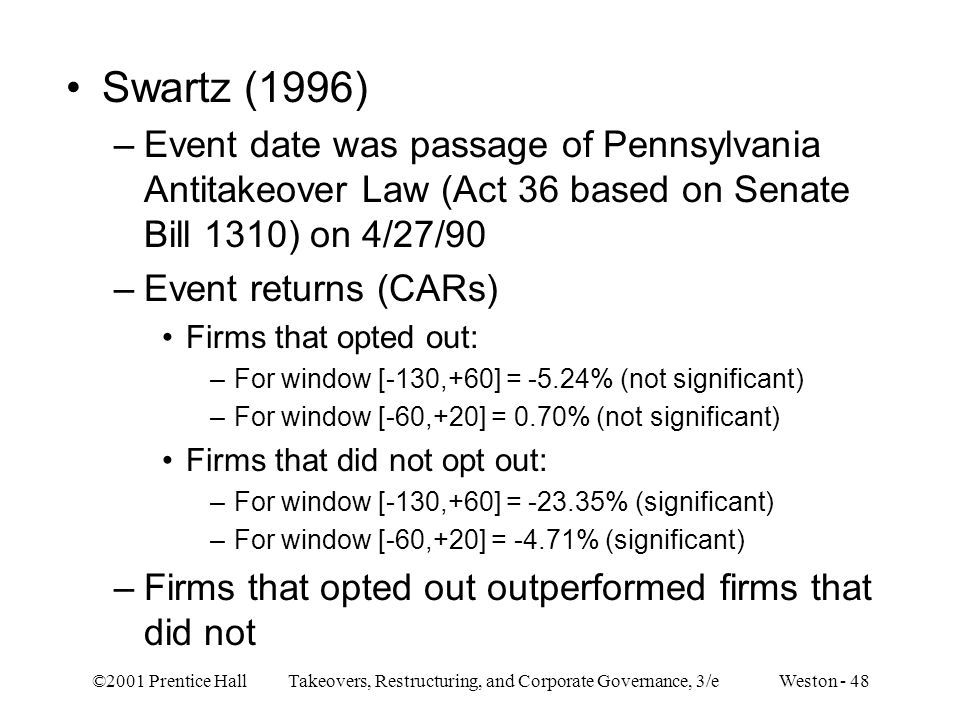 ©2001 Prentice Hall Takeovers, Restructuring, and Corporate Governance, 3/e Weston - 48 Swartz (1996) –Event date was passage of Pennsylvania Antitakeover Law (Act 36 based on Senate Bill 1310) on 4/27/90 –Event returns (CARs) Firms that opted out: –For window [-130,+60] = -5.24% (not significant) –For window [-60,+20] = 0.70% (not significant) Firms that did not opt out: –For window [-130,+60] = -23.35% (significant) –For window [-60,+20] = -4.71% (significant) –Firms that opted out outperformed firms that did not