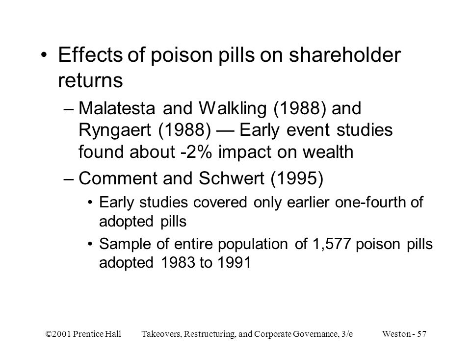 ©2001 Prentice Hall Takeovers, Restructuring, and Corporate Governance, 3/e Weston - 57 Effects of poison pills on shareholder returns –Malatesta and Walkling (1988) and Ryngaert (1988) — Early event studies found about -2% impact on wealth –Comment and Schwert (1995) Early studies covered only earlier one-fourth of adopted pills Sample of entire population of 1,577 poison pills adopted 1983 to 1991