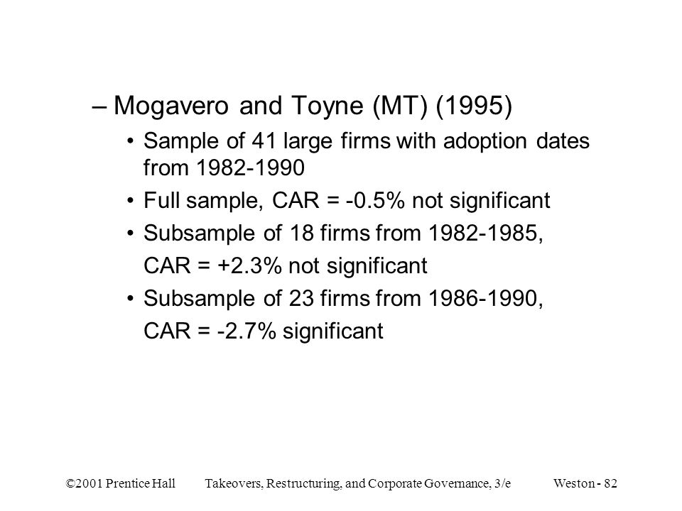 ©2001 Prentice Hall Takeovers, Restructuring, and Corporate Governance, 3/e Weston - 82 –Mogavero and Toyne (MT) (1995) Sample of 41 large firms with adoption dates from 1982-1990 Full sample, CAR = -0.5% not significant Subsample of 18 firms from 1982-1985, CAR = +2.3% not significant Subsample of 23 firms from 1986-1990, CAR = -2.7% significant