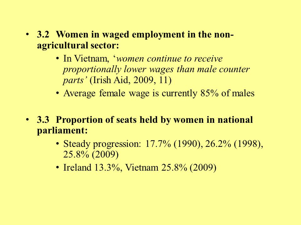3.2Women in waged employment in the non- agricultural sector: In Vietnam, 'women continue to receive proportionally lower wages than male counter part