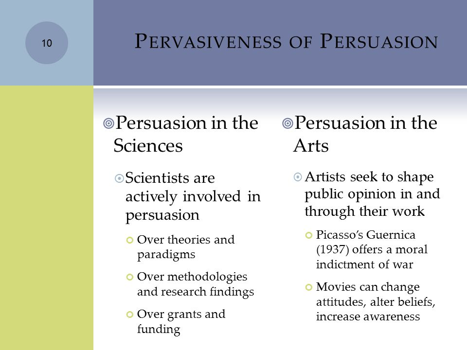 P ERVASIVENESS OF P ERSUASION  Persuasion in the Sciences  Scientists are actively involved in persuasion Over theories and paradigms Over methodolo