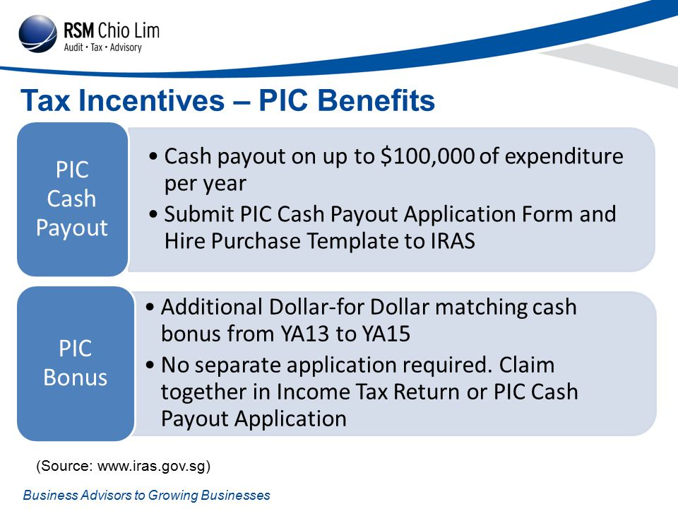 Business Advisors to Growing Businesses Tax Incentives – PIC Benefits Cash payout on up to $100,000 of expenditure per year Submit PIC Cash Payout Application Form and Hire Purchase Template to IRAS PIC Cash Payout Additional Dollar-for Dollar matching cash bonus from YA13 to YA15 No separate application required.