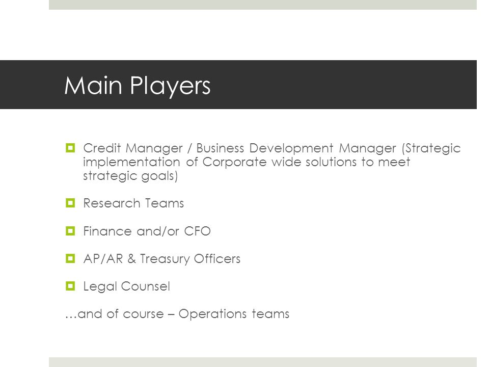 Main Players  Credit Manager / Business Development Manager (Strategic implementation of Corporate wide solutions to meet strategic goals)  Research