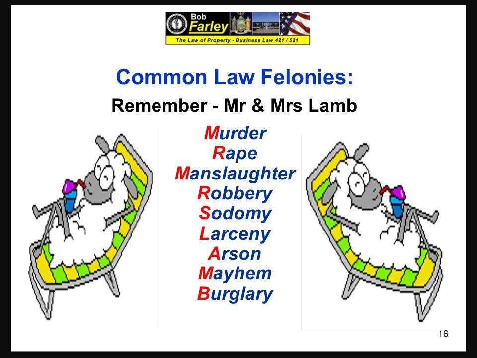 Common Law Felonies: Remember - Mr & Mrs Lamb Murder Rape Manslaughter Robbery Sodomy Larceny Arson Mayhem Burglary 16