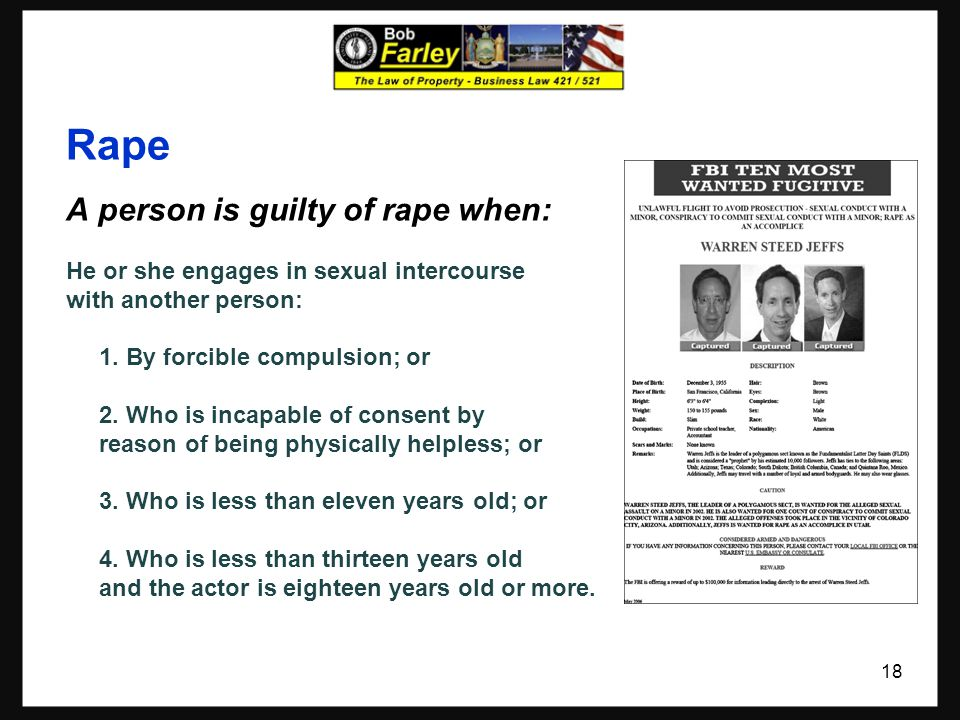 Rape A person is guilty of rape when: He or she engages in sexual intercourse with another person: 1.
