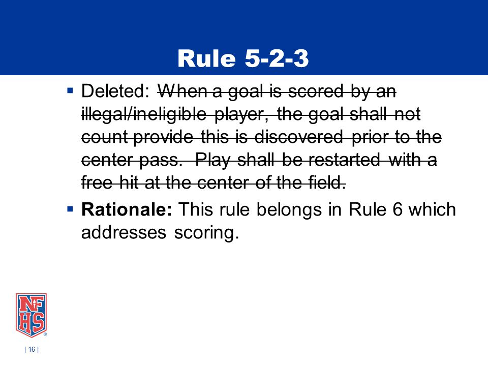 Rule 5-2-3  Deleted: When a goal is scored by an illegal/ineligible player, the goal shall not count provide this is discovered prior to the center pass.