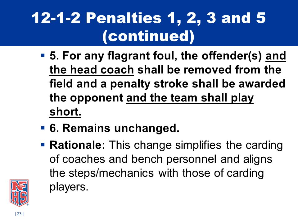 12-1-2 Penalties 1, 2, 3 and 5 (continued)  5.