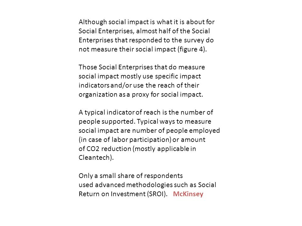 Although social impact is what it is about for Social Enterprises, almost half of the Social Enterprises that responded to the survey do not measure their social impact (figure 4).