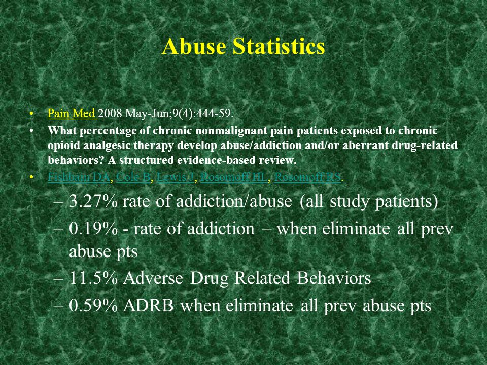 Abuse Statistics Pain Med 2008 May-Jun;9(4):444-59. What percentage of chronic nonmalignant pain patients exposed to chronic opioid analgesic therapy