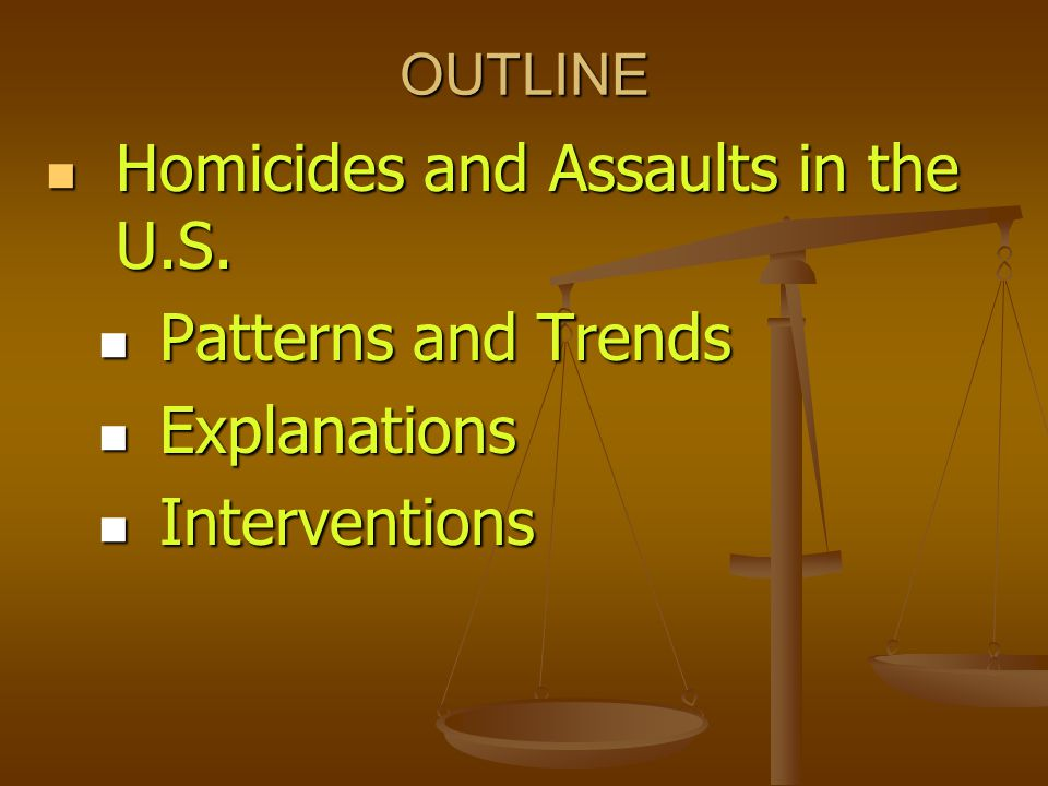 Definitions Murder and Non-negligent Manslaughter (UCR): the willful (non- negligent) killing of one human being by another. Murder and Non-negligent Manslaughter (UCR): the willful (non- negligent) killing of one human being by another. Aggravated Assault (NCVS): attack or attempted attack with a weapon, regardless of whether an injury occurred or not, as well as an attack without a weapon when serious injury resulted. Aggravated Assault (NCVS): attack or attempted attack with a weapon, regardless of whether an injury occurred or not, as well as an attack without a weapon when serious injury resulted. Simple Assault: does not involve a weapon; does not result in serious injury to the victim Simple Assault: does not involve a weapon; does not result in serious injury to the victim