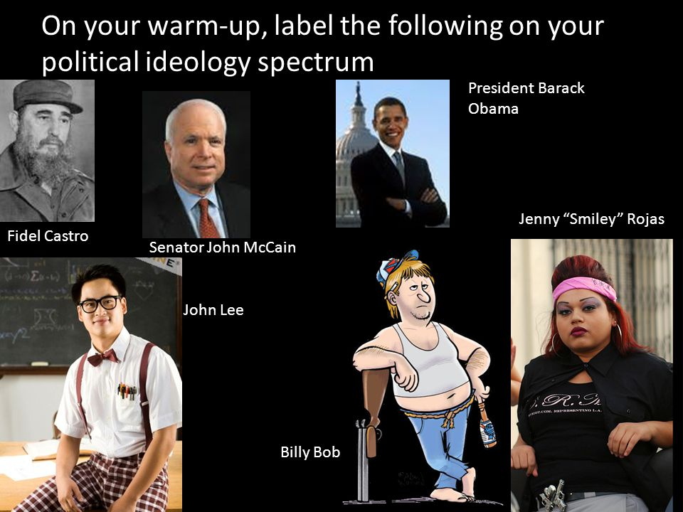 On your warm-up, label the following on your political ideology spectrum Fidel Castro Senator John McCain President Barack Obama John Lee Billy Bob Jenny Smiley Rojas