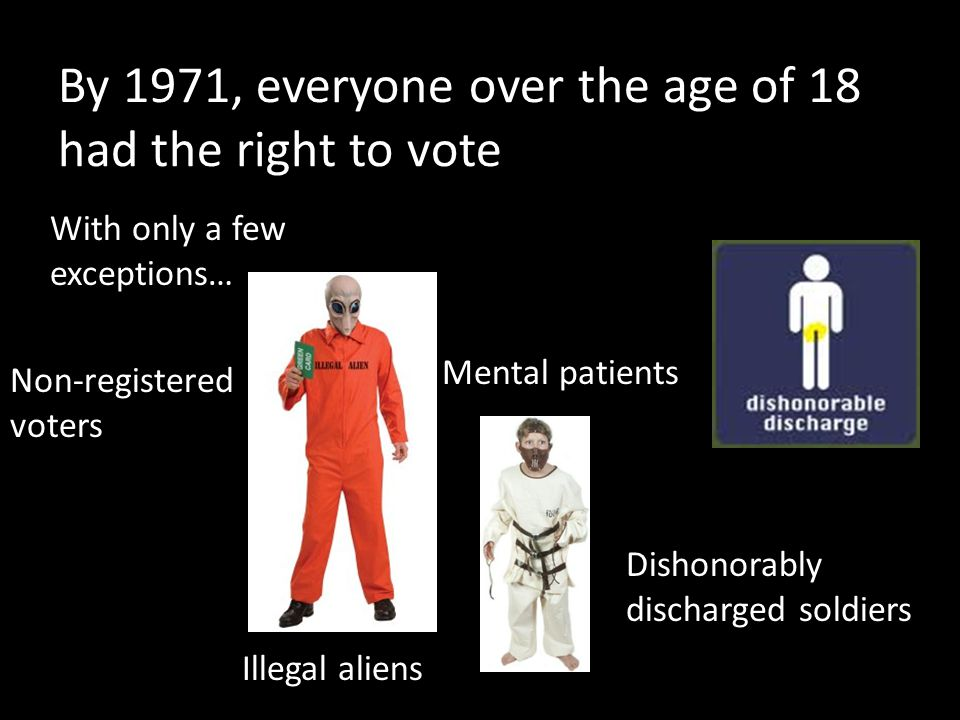 By 1971, everyone over the age of 18 had the right to vote With only a few exceptions… Illegal aliens Non-registered voters Mental patients Dishonorably discharged soldiers