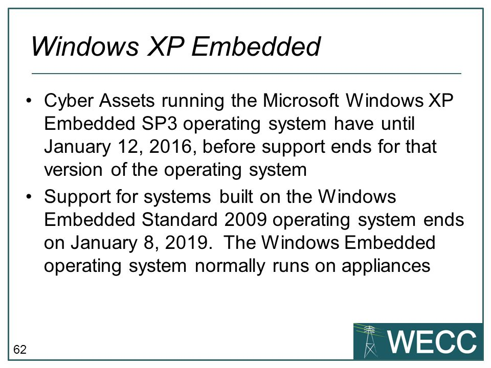 62 Cyber Assets running the Microsoft Windows XP Embedded SP3 operating system have until January 12, 2016, before support ends for that version of th