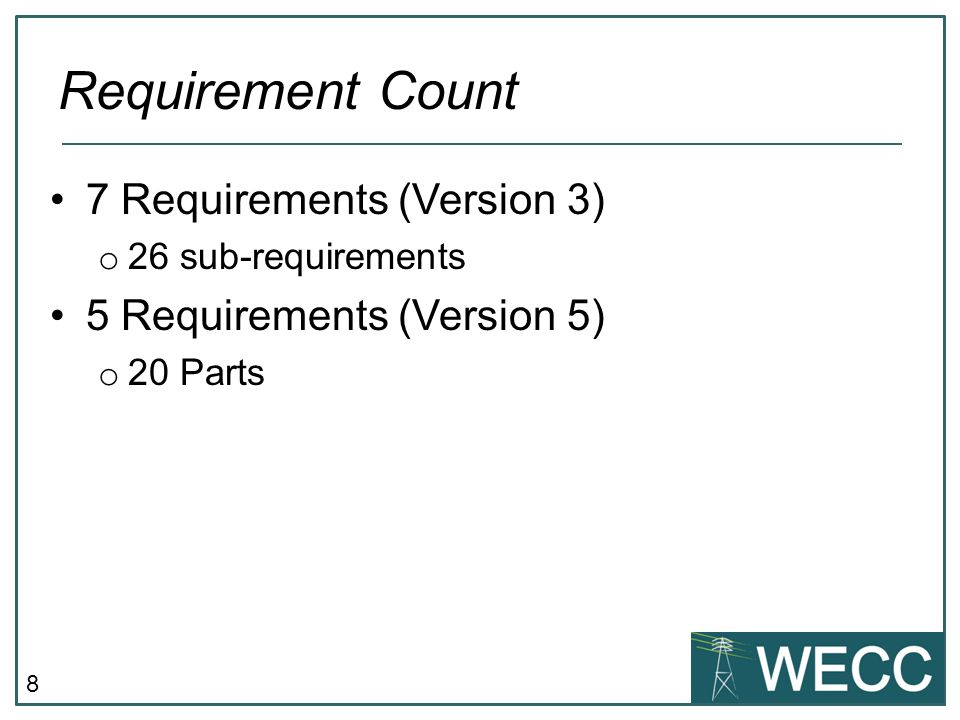 8 7 Requirements (Version 3) o 26 sub-requirements 5 Requirements (Version 5) o 20 Parts Requirement Count