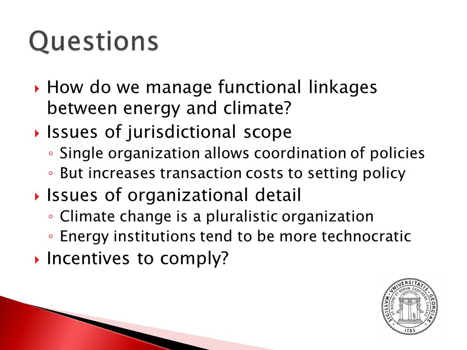  How do we manage functional linkages between energy and climate.