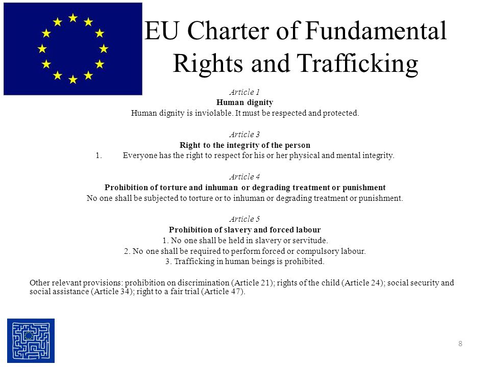 EU Charter of Fundamental Rights and Trafficking Article 1 Human dignity Human dignity is inviolable.