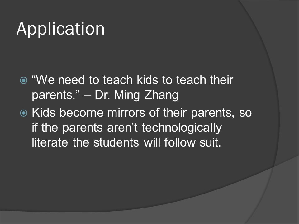 Application  We need to teach kids to teach their parents. – Dr.