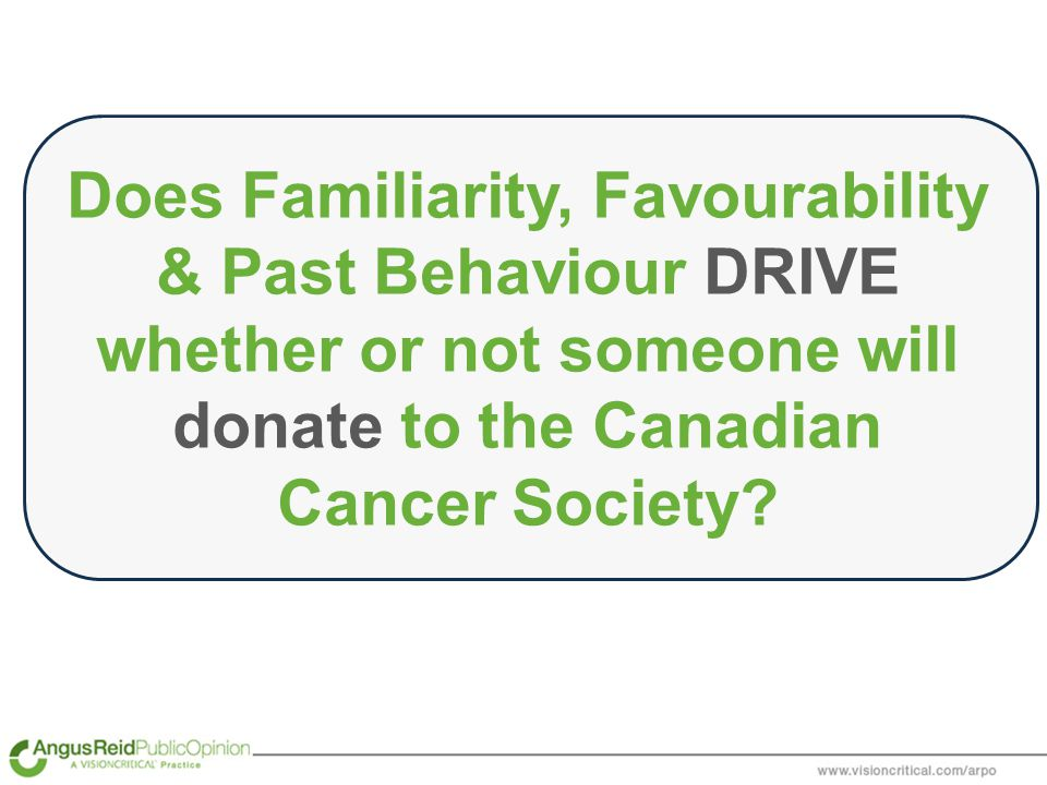 Does Familiarity, Favourability & Past Behaviour DRIVE whether or not someone will donate to the Canadian Cancer Society