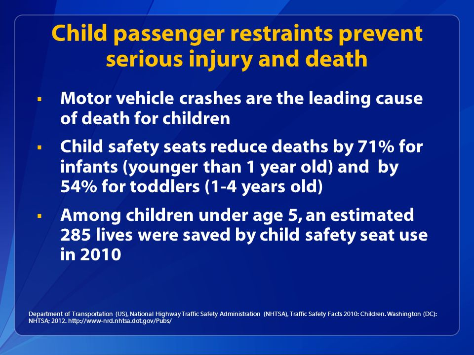 Department of Transportation (US), National Highway Traffic Safety Administration (NHTSA), Traffic Safety Facts 2010: Children.