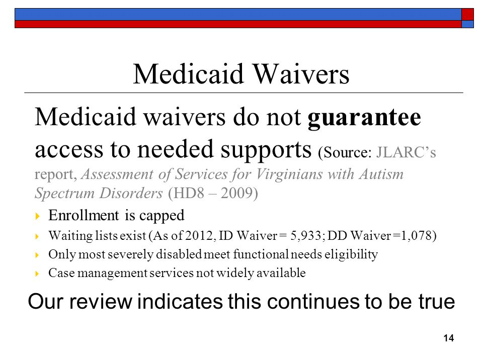 Medicaid Waivers Medicaid waivers do not guarantee access to needed supports (Source: JLARC's report, Assessment of Services for Virginians with Autism Spectrum Disorders (HD8 – 2009)  Enrollment is capped  Waiting lists exist (As of 2012, ID Waiver = 5,933; DD Waiver =1,078)  Only most severely disabled meet functional needs eligibility  Case management services not widely available 14 Our review indicates this continues to be true