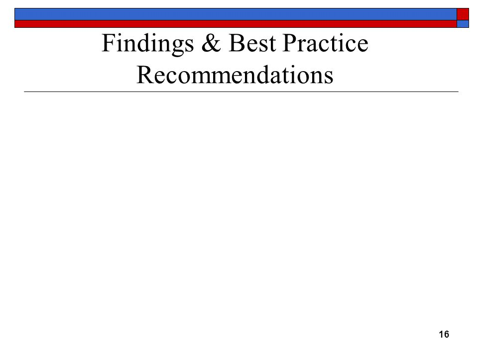 16 Findings & Best Practice Recommendations