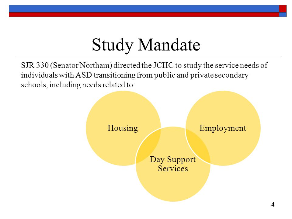 Study Mandate SJR 330 (Senator Northam) directed the JCHC to study the service needs of individuals with ASD transitioning from public and private secondary schools, including needs related to: 4 Housing Day Support Services Employment