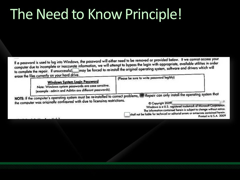The Need to Know Principle!