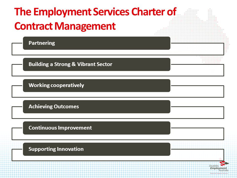 The Employment Services Charter of Contract Management PartneringBuilding a Strong & Vibrant Sector Working cooperatively Achieving OutcomesContinuous ImprovementSupporting Innovation