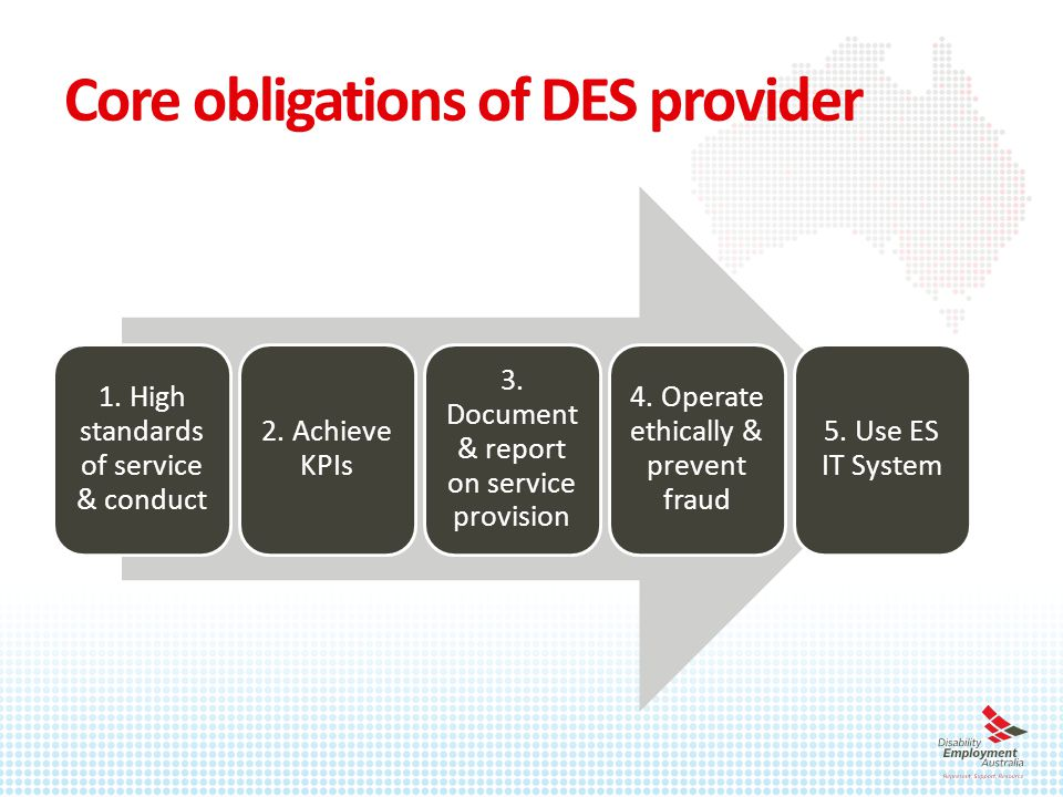 Core obligations of DES provider 1. High standards of service & conduct 2.