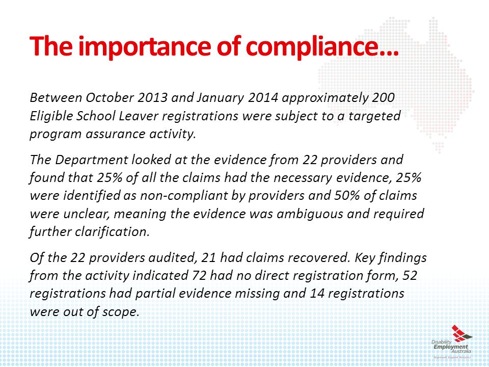 The importance of compliance...
