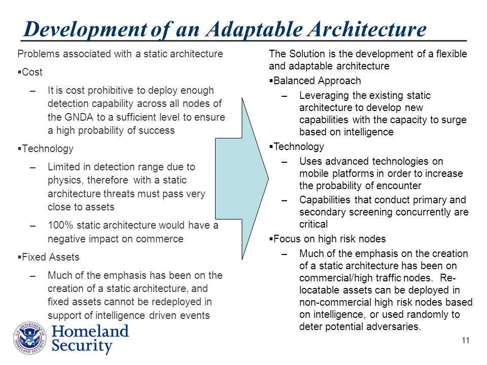 11 Development of an Adaptable Architecture Problems associated with a static architecture  Cost –It is cost prohibitive to deploy enough detection capability across all nodes of the GNDA to a sufficient level to ensure a high probability of success  Technology –Limited in detection range due to physics, therefore with a static architecture threats must pass very close to assets –100% static architecture would have a negative impact on commerce  Fixed Assets –Much of the emphasis has been on the creation of a static architecture, and fixed assets cannot be redeployed in support of intelligence driven events 11 The Solution is the development of a flexible and adaptable architecture  Balanced Approach –Leveraging the existing static architecture to develop new capabilities with the capacity to surge based on intelligence  Technology –Uses advanced technologies on mobile platforms in order to increase the probability of encounter –Capabilities that conduct primary and secondary screening concurrently are critical  Focus on high risk nodes –Much of the emphasis on the creation of a static architecture has been on commercial/high traffic nodes.
