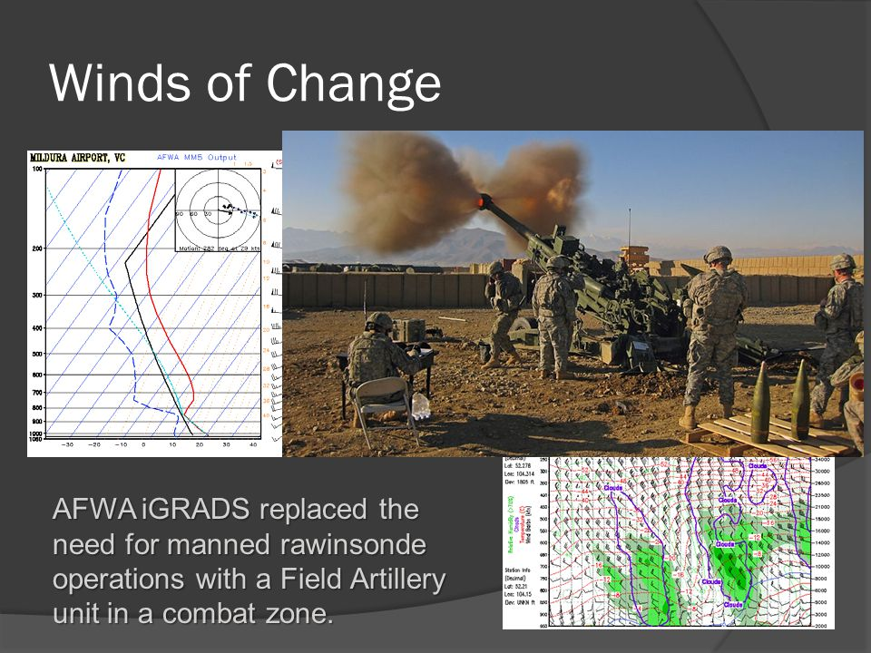 Winds of Change AFWA iGRADS replaced the need for manned rawinsonde operations with a Field Artillery unit in a combat zone.