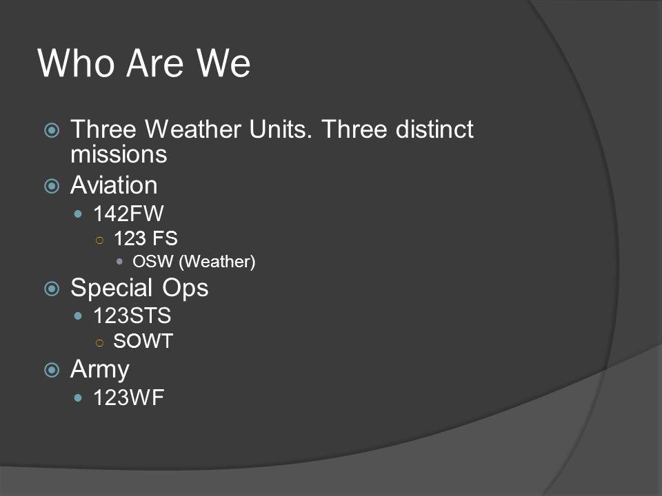 Oregon ANG Units 142 FW COG/HQ 125 STS 123 WF 116 ACS Warrenton Portland 173FW 270 ATCS Klamath Falls JFHQ Salem 142 FW Aerospace Control Alert (ACA) 173 FW F-15 C/D FTU (ANG & Active Duty) State Combat Operations Group (COG) 116 th Air Control Squadron 270 th Air Traffic Control Squadron 123 rd Weather Flight 125 th Special Tactics Squadron State Partnership Program Bangladesh Vietnam 60