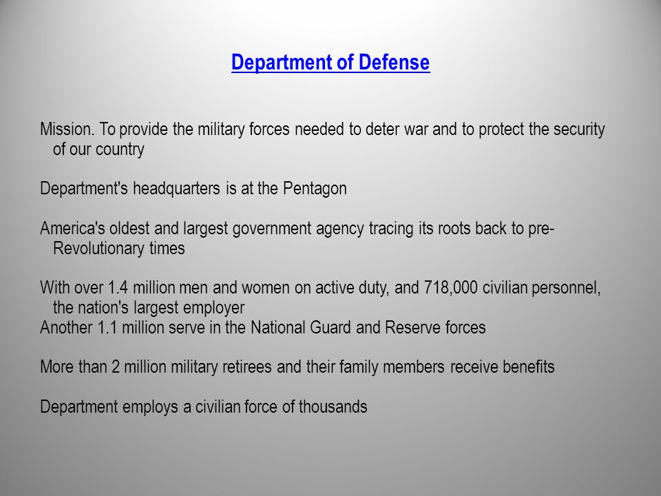 Department of Defense Mission.