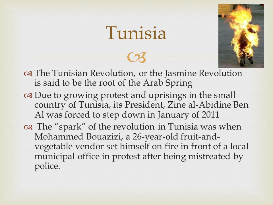   The Tunisian Revolution, or the Jasmine Revolution is said to be the root of the Arab Spring  Due to growing protest and uprisings in the small country of Tunisia, its President, Zine al-Abidine Ben Al was forced to step down in January of 2011  The spark of the revolution in Tunisia was when Mohammed Bouazizi, a 26-year-old fruit-and- vegetable vendor set himself on fire in front of a local municipal office in protest after being mistreated by police.