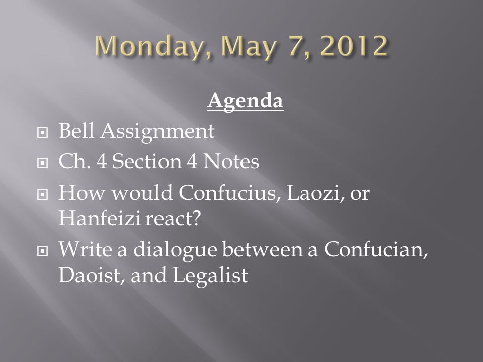 Agenda  Bell Assignment  Ch. 4 Section 4 Notes  How would Confucius, Laozi, or Hanfeizi react?  Write a dialogue between a Confucian, Daoist, and