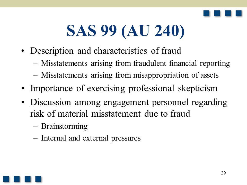 29 SAS 99 (AU 240) Description and characteristics of fraud –Misstatements arising from fraudulent financial reporting –Misstatements arising from mis