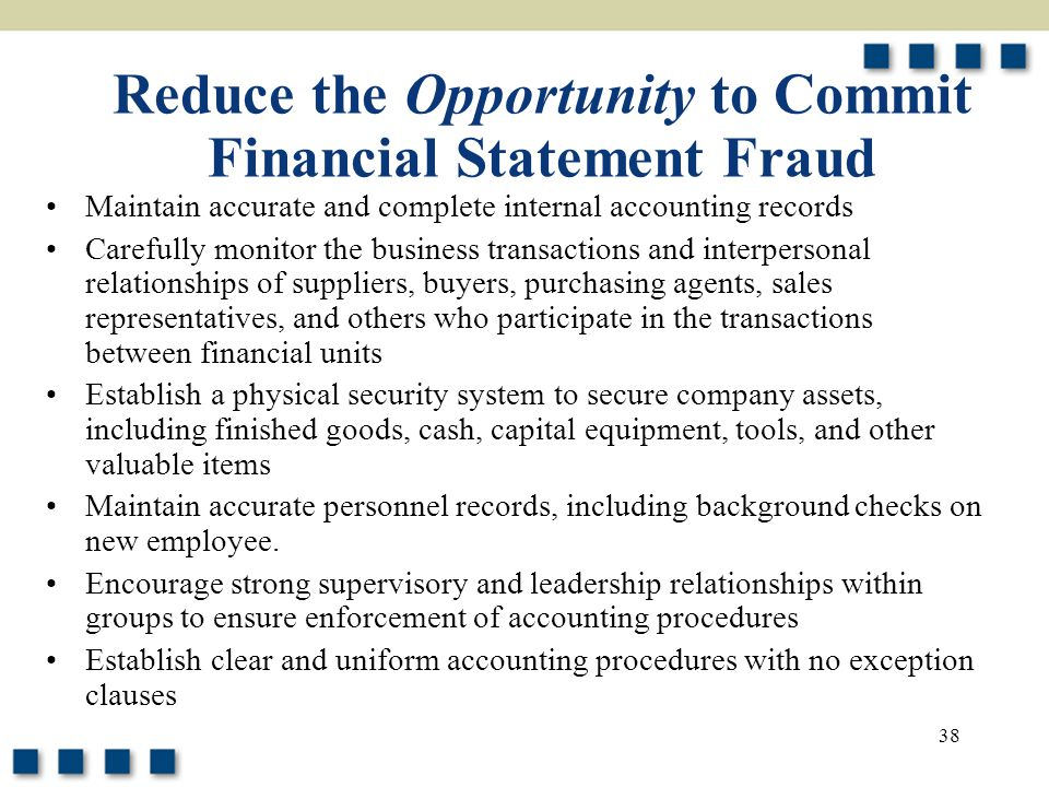 38 Reduce the Opportunity to Commit Financial Statement Fraud Maintain accurate and complete internal accounting records Carefully monitor the busines