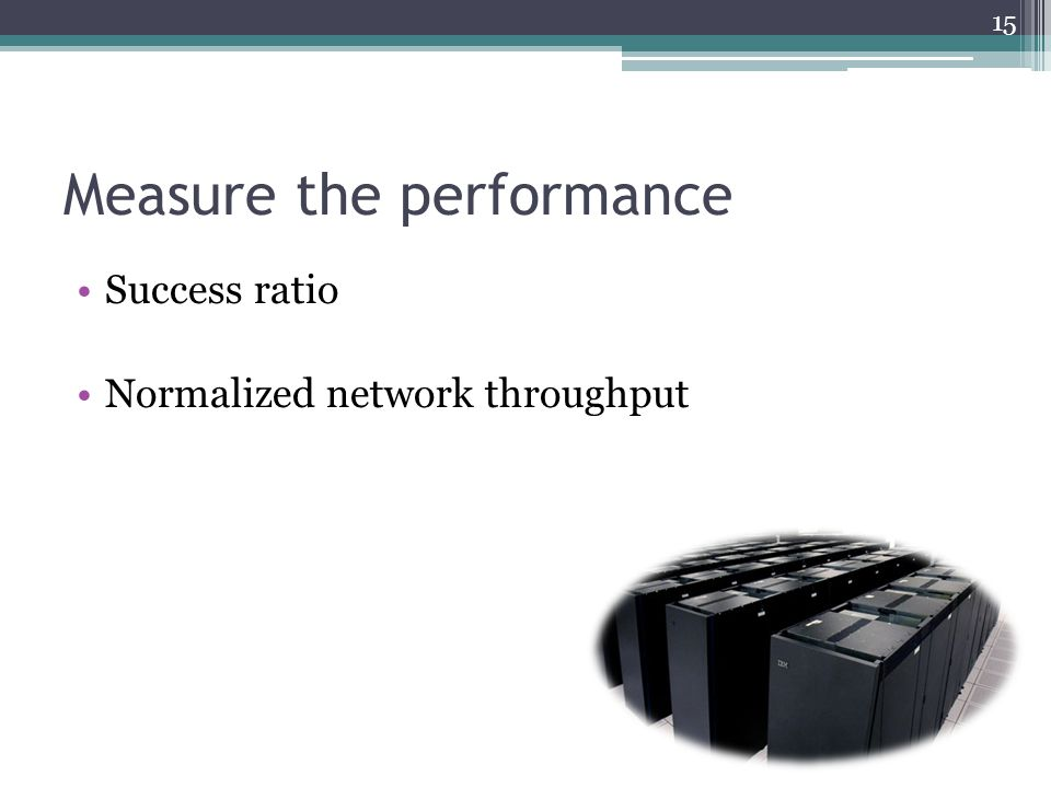 Measure the performance Success ratio Normalized network throughput 15