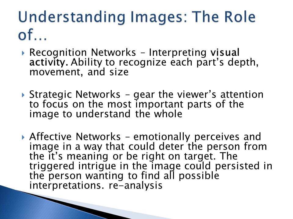  Recognition Networks – Interpreting visual activity.