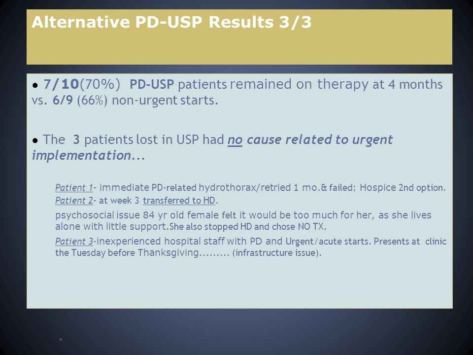 Alternative PD-USP Results 3/3 ● 7 /10( 7 0%) PD-USP patients remained on therapy at 4 months vs.