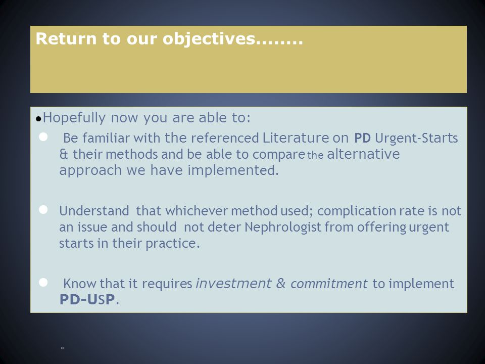 Return to our objectives........