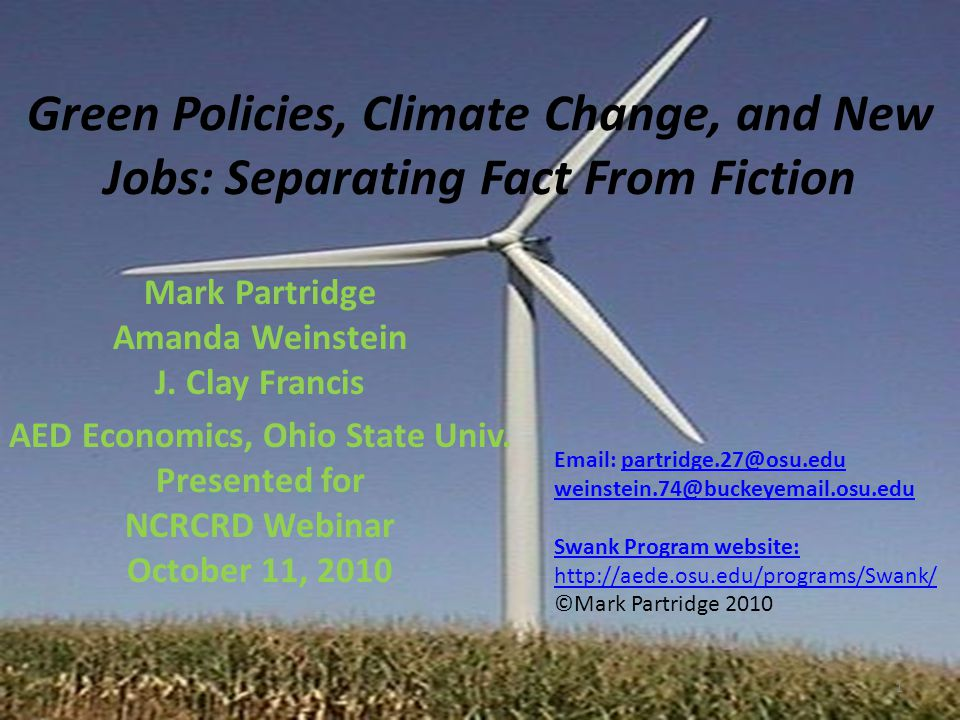 Overall issue Using clean energy to increase job growth falls under various sectoral efforts to support economic development.