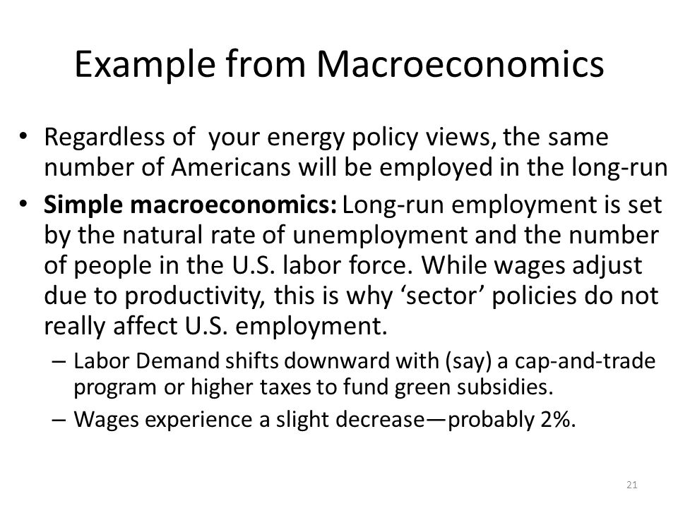 Example from Macroeconomics Regardless of your energy policy views, the same number of Americans will be employed in the long-run Simple macroeconomic