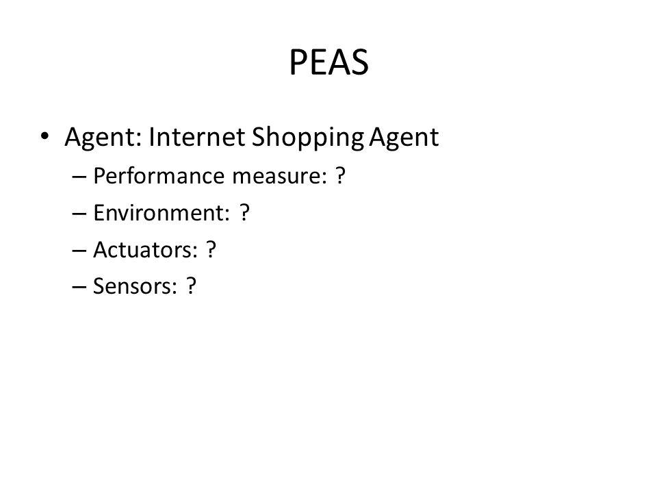 PEAS Agent: Internet Shopping Agent – Performance measure: ? – Environment: ? – Actuators: ? – Sensors: ?