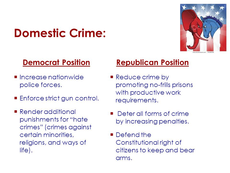 Domestic Crime: Democrat Position  Increase nationwide police forces.