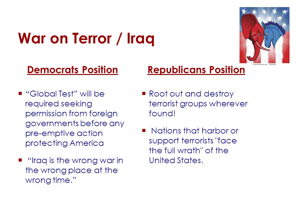 War on Terror / Iraq Democrats Position  Global Test will be required seeking permission from foreign governments before any pre-emptive action protecting America  Iraq is the wrong war in the wrong place at the wrong time. Republicans Position  Root out and destroy terrorist groups wherever found.