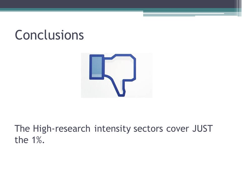 Conclusions The High-research intensity sectors cover JUST the 1%.