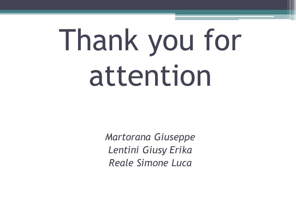 Thank you for attention Martorana Giuseppe Lentini Giusy Erika Reale Simone Luca