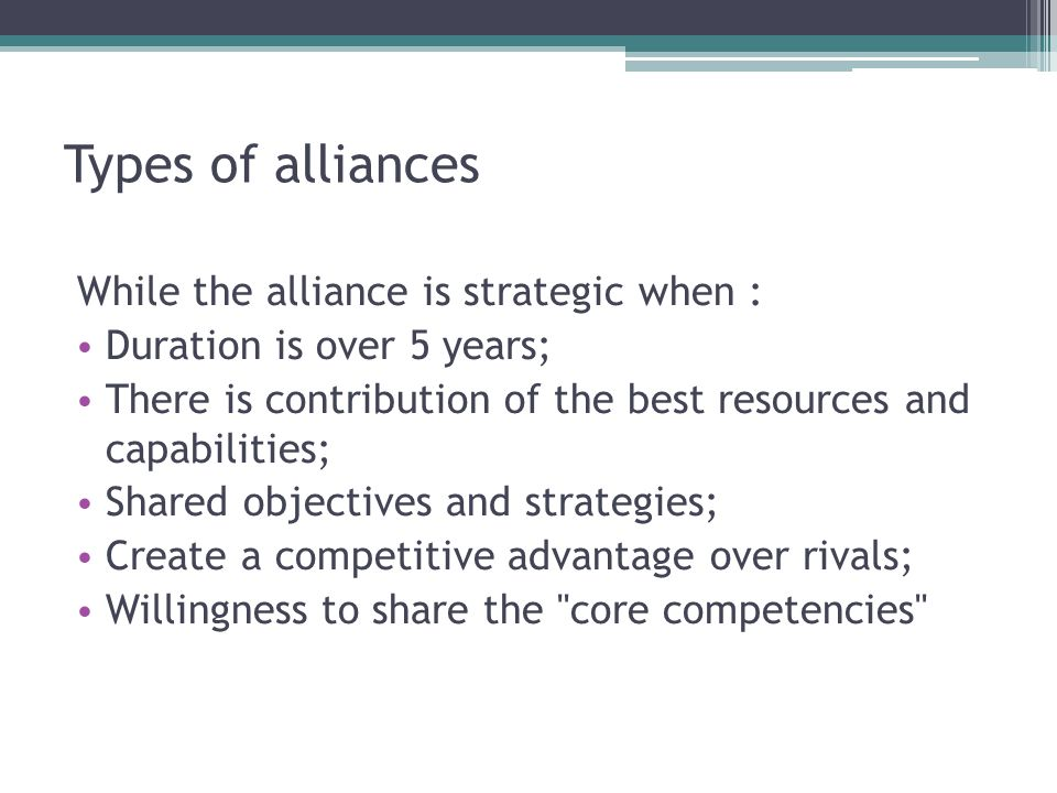 Clash of cultures and «incompatible personal chemistry»; Lack of trust; Lack of clear goals and objective; Lack of coordination between management teams; Differences in operating procedures and attitudes among partners; Relational risk; Performance risk; Performance risk is the probability that an alliance may fail even when partner firms commit themselves fully to the alliance.